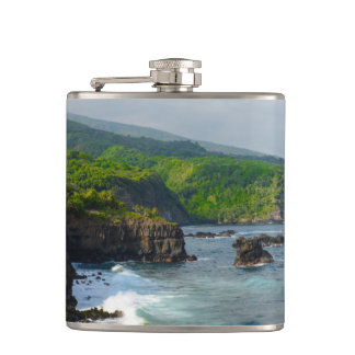 Cliffs in Maui Hawaii Flask