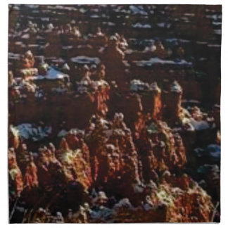 cliffs of the red rock of snow napkin
