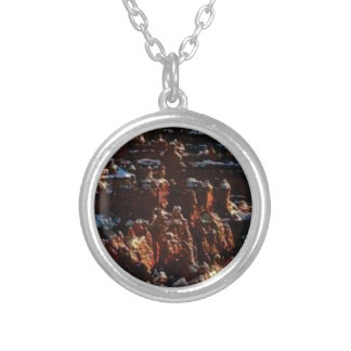 cliffs of the red rock of snow silver plated necklace