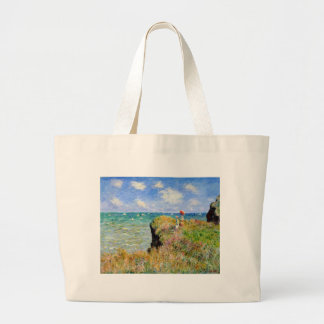 Clifftop Walk at Pourville - Claude Monet Large Tote Bag