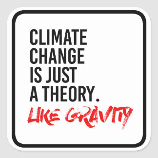 CLIMATE CHANGE IS JUST A THEORY LIKE GRAVITY - - P SQUARE STICKER