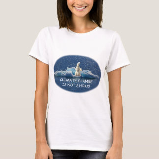 CLIMATE CHANGE IS NOT A HOAX Polar Bear on Iceberg T-Shirt
