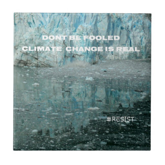 Climate Change Is Real Melting Glacier Small Square Tile