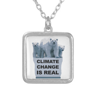 CLIMATE CHANGE IS REAL SILVER PLATED NECKLACE