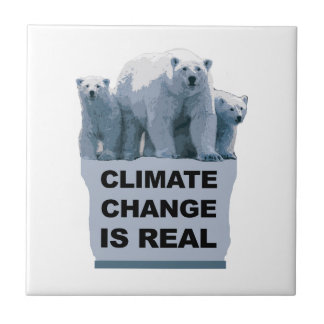 CLIMATE CHANGE IS REAL SMALL SQUARE TILE