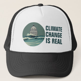 Climate Change Is Real  Submerged U.S. Capitol Trucker Hat