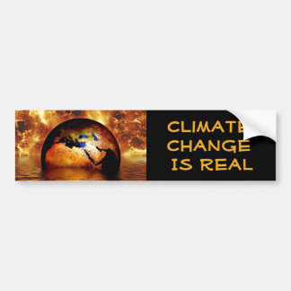 """Climate Change is Real' with Burning Earth. Bumper Sticker"