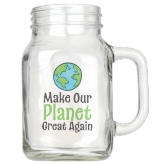 Climate Change  Mason Jar, with Handle (20 oz) Mason Jar