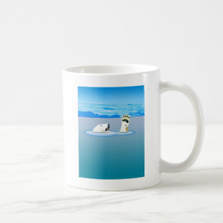 Climate Change: Polar Bear Going Under Coffee Mug