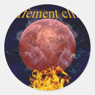 Climate warming round sticker