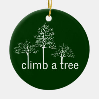 Climb a tree design round ceramic decoration