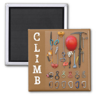 """Climb"" Mountaineering Gear Magnet"