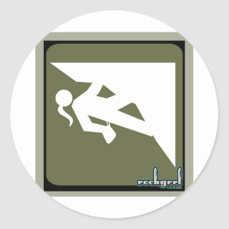 Climbing Girl Icon Round Sticker