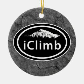 "Climbing ""iClimb"" Oval Mountain Tag Ornament"