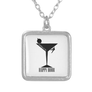 Climbing Is My Happy Hour Silver Plated Necklace