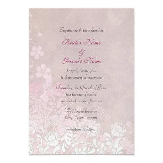 Climbing Pink Rose Floral Elegant Wedding Invites
