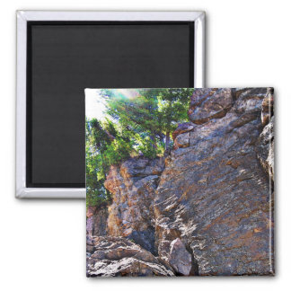 Climbing Rocks And Trees Square Magnet