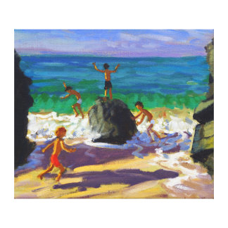 climbing rocks Porthmeor beach St Ives 2013 Canvas Print