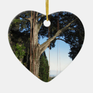 Climbing ropes hanging from a big tree ceramic ornament