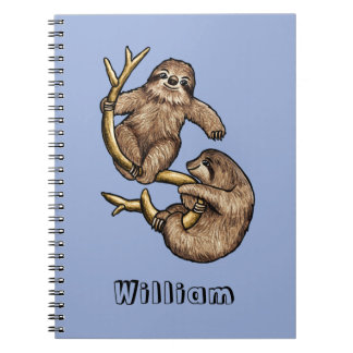 Climbing Sloth Personalised Notebook