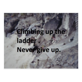 climbing up the ladder postcard