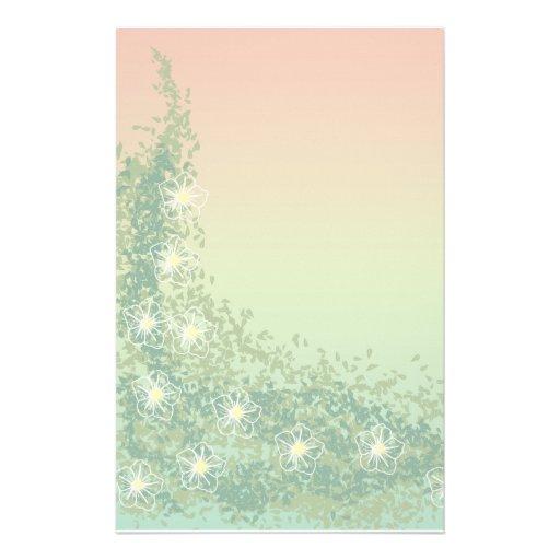 Climbing Vine & White flowers Stationery Design