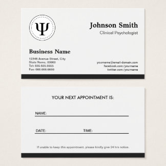 Clinical Psychologist - Psychology Appointment Business Card
