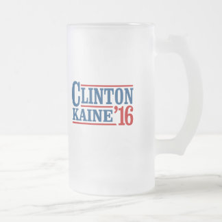 Clinton Kaine 2016 - Retro Sign Frosted Glass Beer Mug