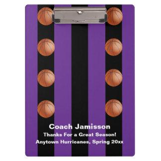 Clipboard Black and Purple Stripe Basketball Coach