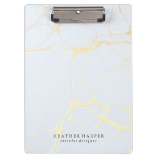 Clipboard - Blue & Gold Marble