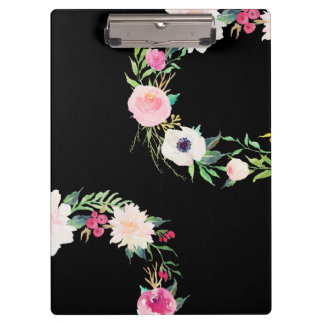 Clipboard Watercolor Wreath, Black