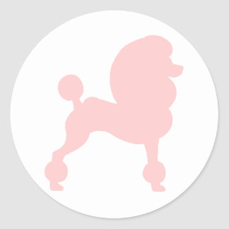 Clipped Standard Poodle (in light pink) Classic Round Sticker