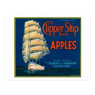 Clipper Ship Apple Label (green) - Cashmere, WA Postcard