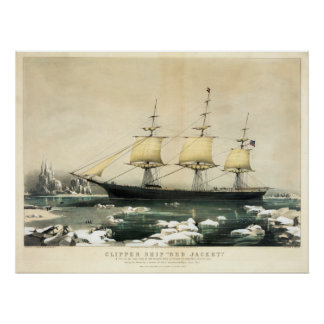 Clipper Ship Red Jacket in the Ice off Cape Horn Poster