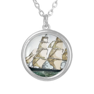 Clipper Ship Silver Plated Necklace