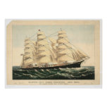 "Clipper ship ""Three Brothers"" (0406A) Poster"