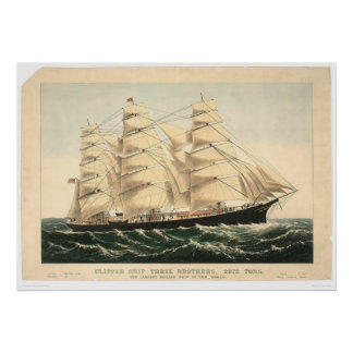 """Clipper ship """"Three Brothers"""" (0406A) Poster"""