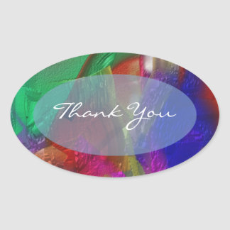 Clippings - Colorful Abstract Painting Oval Sticker