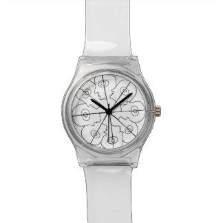 Clock black and white wrist watch