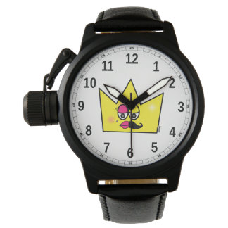 Clock Black Leather and Protective Crown - Trans Watch