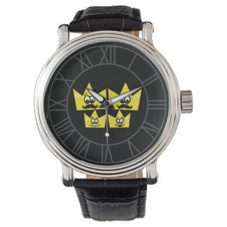 Clock Black Leather Vintage - Gay Family Men Watch
