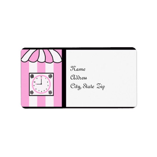 Clock Bridal Shower Pink and White Stripes Address Label
