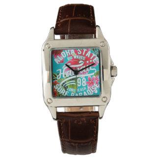 Clock Brown Leather Bracelet Hawaii Aloha Aya Watch