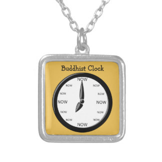 Clock -  Buddhist Clock Silver Plated Necklace