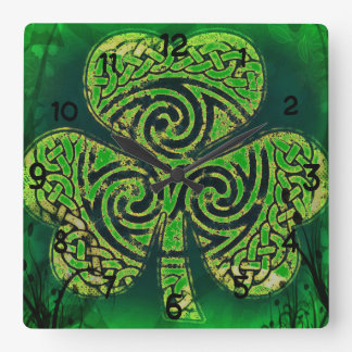 Clock, clock, Celtic knot, clover sheet Square Wall Clock
