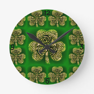 Clock, clock, clover sheet, Celtic knot, green Round Clock