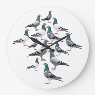 Clock cooks with collage carrier pigeons