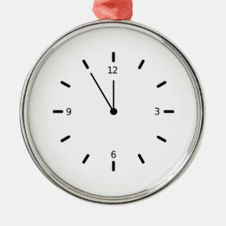 Clock Displaying Time Metal Ornament