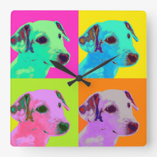 Clock. Dog, Jack Russels Terrier. Popart Square Wall Clock