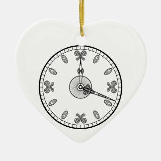 Clock Face Ceramic Heart Decoration